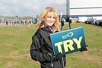 LV= Promo Girls give out try cards to fans before the LV= Cup Final match between Leicester Tigers and Northampton Saints at Sixways Stadium, Worcester on Sunday 18 March 2012 (Photo by Rob Munro, Fotosports International)