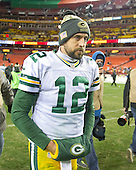 Green Bay Packers quarterback Aaron Rodgers (12) leaves the field following his team's 42 - 24 loss to Washington Redskins at FedEx Field in Landover, Maryland on Sunday, November 20, 2016. <br /> Credit: Ron Sachs / CNP