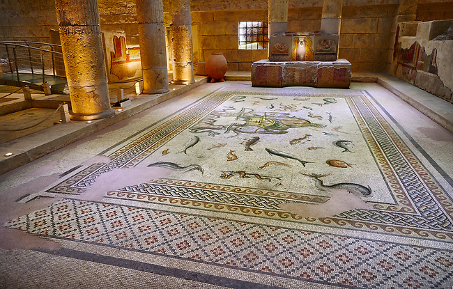 Roman mosaics - The Poseidon Mosaic. Poseidon Villa Ancient Zeugama, 2nd - 3rd century AD . Zeugma Mosaic Museum, Gaziantep, Turkey.