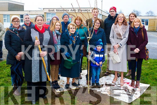 Mary Stack, front centre, with her family where the Board of Management of Ardfert School planted a tree in the school grounds to honour the memory of her late Son, Tom Stack R.I.P. member of the BOM, member of the Parents' Association