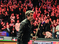 Ronnie O'Sullivan is congratulated by the fans after his 6-3 win in the Dafabet Masters Quarter Final 3 match between Ronnie O'Sullivan and Mark Selby at Alexandra Palace, London, England on 14 January 2016. Photo by Liam Smith / PRiME Media Images