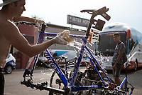 post-stage bike cleaning at Team Total-Direct Energie <br /> <br /> Stage 17: Pont du Gard to Gap (200km)<br /> 106th Tour de France 2019 (2.UWT)<br /> <br /> ©kramon