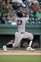 Catcher Ricardo Genoves (23) of the Augusta GreenJackets bats in a game against the Greenville Drive on Thursday, August 29, 2019, at Fluor Field at the West End in Greenville, South Carolina. Augusta won, 11-0. (Tom Priddy/Four Seam Images)