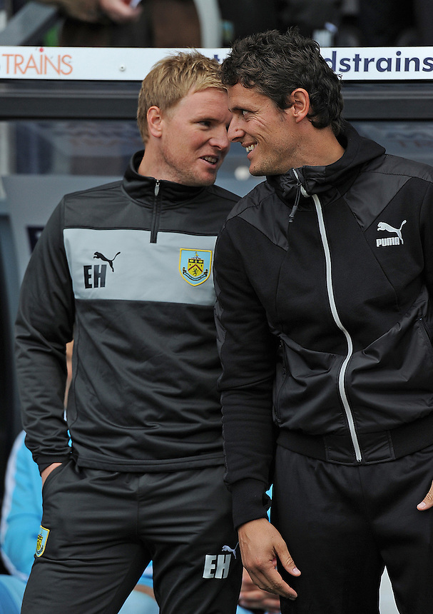 Burnley's Manager Eddie Howe and Assistant manager Jason Tindall..Football - npower Football League Championship - Derby County v Burnley - Saturday 22nd September 2012 - Pride Park - Derby..