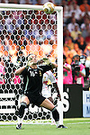 09 July 2006: Goalkeeper Fabien Barthez (FRA) is unable to stop this shot from Marco Materazzi (ITA) (not pictured).  The goal tied the game 1-1 in the 19th minute. Italy tied France 1-1 in overtime at the Olympiastadion in Berlin, Germany in match 64, the championship game, of the 2006 FIFA World Cup Finals. Italy won the World Cup by defeating France 5-3 on penalty kicks.
