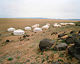 MONGOLIA, a Ger camp in Gurvansaikhan National Park, Three Camel Lodge, the Gobi Desert