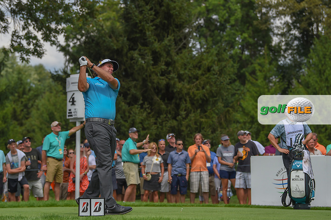Phil Mickelson (USA) watches his tee shot on 4 during 1st round of the World Golf Championships - Bridgestone Invitational, at the Firestone Country Club, Akron, Ohio. 8/2/2018.<br /> Picture: Golffile | Ken Murray<br /> <br /> <br /> All photo usage must carry mandatory copyright credit (© Golffile | Ken Murray)