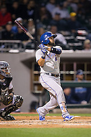 Jaff Decker (4) of the Durham Bulls follows through on his swing against the Charlotte Knights at BB&T BallPark on April 14, 2016 in Charlotte, North Carolina.  The Bulls defeated the Knights 2-0.  (Brian Westerholt/Four Seam Images)