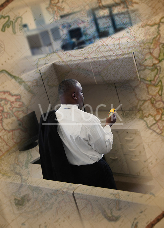 Picture of map juxtaposed with picture of man using gps at office