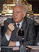 Foreign Minister Eduard Shevardnadze of the Union of Soviet Socialist Republics holds a press conference at the Soviet Embassy in Washington, D.C. on September 18, 1987.  Shevardnadze passed away on July 7, 2014 at age 86.<br /> Credit: Arnie Sachs / CNP