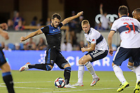 SAN JOSE, CA - AUGUST 24: Vako #11 of the San Jose Earthquakes during a Major League Soccer (MLS) match between the San Jose Earthquakes and the Vancouver Whitecaps FC  on August 24, 2019 at Avaya Stadium in San Jose, California.