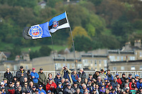 A view of two Bath flags in the Novia stand of the Recreation Ground. Amlin Challenge Cup match, between Bath Rugby and the Newport Gwent Dragons on October 19, 2013 at the Recreation Ground in Bath, England. Photo by: Patrick Khachfe / Onside Images