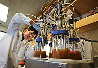 Feb. 21, 2019. San Diego, CA. USA  Shukuan Li  works on fermentation of bacteria to produce proteins in the Synthorx lab.   Photos by Jamie Scott Lytle. Copyright.