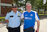 St Johnstone v Eskisehirspor....18.07.12  Uefa Cup Qualifyer.Saints fan and Tayside Police Chief Superintendant Roddy Ross with the Police Chief at Eskisehir Airport Halil Kisalar.Picture by Graeme Hart..Copyright Perthshire Picture Agency.Tel: 01738 623350  Mobile: 07990 594431