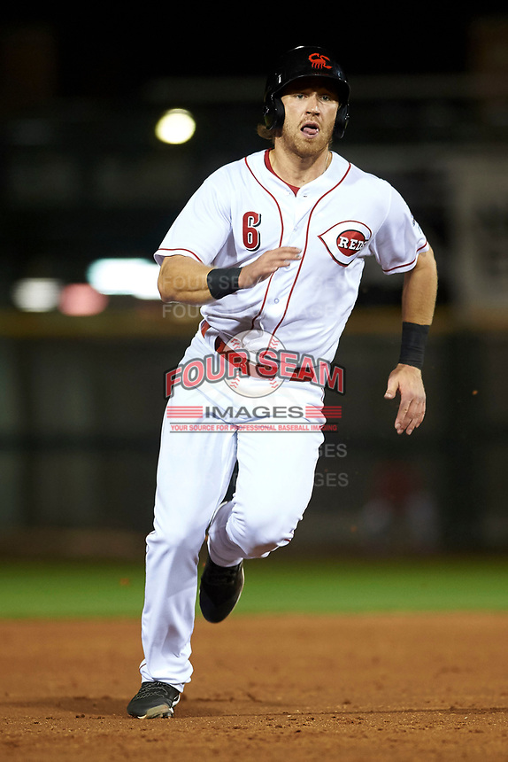 Scottsdale Scorpions third baseman Taylor Sparks (6), of the Cincinnati Reds organization, hustles towards third base during an Arizona Fall League game against the Peoria Javelinas on October 20, 2017 at Scottsdale Stadium in Scottsdale, Arizona. the Javelinas defeated the Scorpions 2-0. (Zachary Lucy/Four Seam Images)
