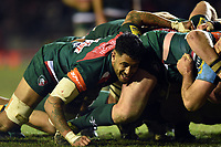 Valentino Mapapalangi of Leicester Tigers in action at a scrum. Aviva Premiership match, between Leicester Tigers and London Irish on January 6, 2018 at Welford Road in Leicester, England. Photo by: Patrick Khachfe / JMP