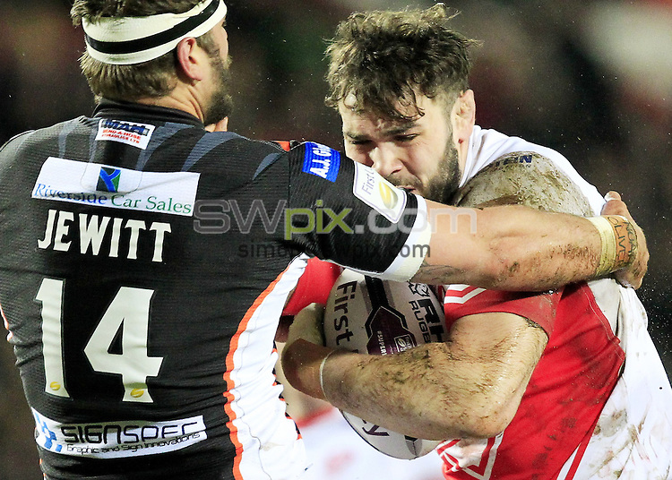 PICTURE BY CHRIS MANGNALL /SWPIX.COM...<br /> Rugby League - Super League - St Helens Saints v Castleford Tigers   - Langtree Park Stadium, , England  - 04/03/16<br /> St Helens  Alex Walmsey tackled by Castleford's Lee Jewitt