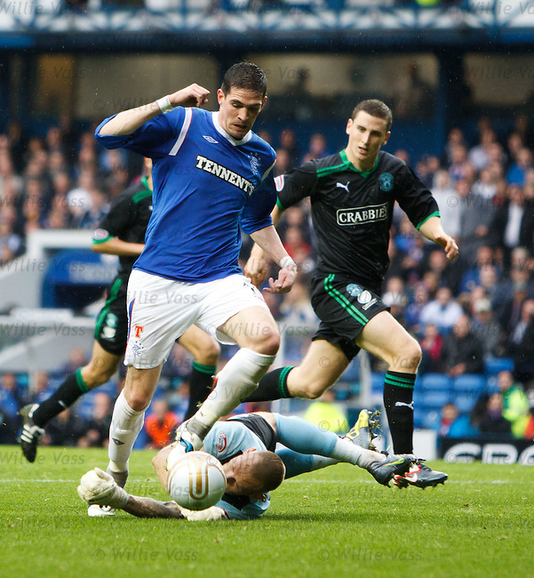 Kyle Lafferty taken out by keeper Graham Stack for a penalty kick to Rangers