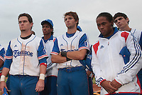 18 August 2010: Jorge Hereaud, David Van Heyningen, Jonathan Dechelle, Edison Garcia Martinez, Maxime Charlot are seen after  the France 7-3 win over Ukraine, at the 2010 European Championship, under 21, in Brno, Czech Republic.