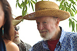 """Pete Seeger conducting a """"River Blessing"""" Ceremony near the Hudson River Shoreline during the Clearwater's Great Hudson River Revival Music & Environmental Festival 2011 at Croton Point Park, Croton-on-Hudson, NY on Saturday June 18, 2011. Photo copyright Jim Peppler/2011."""