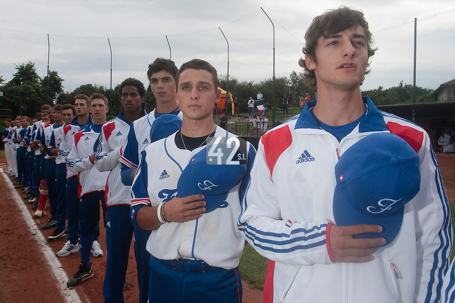 18 August 2010: Eloi Secleppe, Matt Lapinski, Maxime Charlot, David Van Heyningen, Steven Vesque, are seen during the national anthem prior to the France 7-3 win over Ukraine, at the 2010 European Championship, under 21, in Brno, Czech Republic.