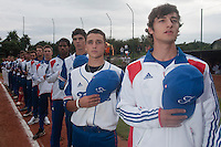 18 August 2010: Eloi Secleppe, Matt Lapinski, Maxime Charlot, David Van Heyningen, Steven Vesque, are seen during the national anthem prior to the France 7-3 win over Ukraine, at the 2010 European Championship, under 21, in Brno, Czech Republic.
