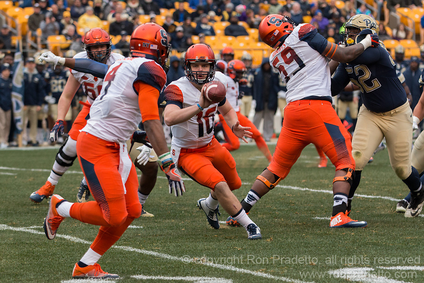 Syracuse quarterback Zack Mahoney pitches the football. The Pitt Panthers defeated the Syracuse Orange 76-61 at Heinz Field in Pittsburgh, Pennsylvania on November 26, 2016.