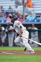 Tri-City ValleyCats center fielder Marcos Almonte (7) at bat during a game against the Auburn Doubledays on August 25, 2016 at Falcon Park in Auburn, New York.  Tri-City defeated Auburn 4-3.  (Mike Janes/Four Seam Images)