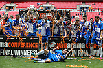Bristol Rovers players celebrate victory in the 2015 Vanarama Conference Promotion Final match between Grimsby Town and Bristol Rovers at Wembley Stadium, London<br /> Picture by David Horn/eXtreme aperture photography +44 7545 970036<br /> 17/05/2015
