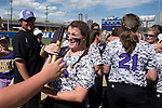 21 MAY 2016:  Hillary Carpenter (1) of the University of North Alabama celebrates her teams' victory over Humboldt State University during the Division II Women's Softball Championship held at the Regency Athletic Complex on the Metro State University campus in Denver, CO.  North Alabama defeated Humboldt State 4-1 to win the national title.  Jamie Schwaberow/NCAA Photos