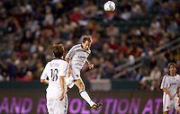 LA Galaxy midfielder Eddie Lewis heads a ball. Real Salt Lake defeated the LA Galaxy 2-0 at Home Depot Center stadium in Carson, California on Saturday June 13, 2009.   .