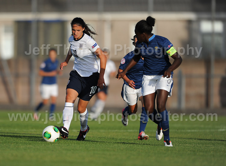 Jessica Sigsworth of England battles with Kadidiatou Diani of France during the UEFA Womens U19 Championships at Stebonheath Park, Llanelli  Monday 19th August 2013. All images are the copyright of Jeff Thomas Photography-www.jaypics.photoshelter.com-07837 386244-Any use of images must be authorised by the copyright owner.