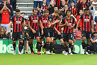 Adam Smith of AFC Bournemouth middle is congratulated on scoring the fourth goal by Simon Francis of AFC Bournemouth during AFC Bournemouth vs Leicester City, Premier League Football at the Vitality Stadium on 15th September 2018