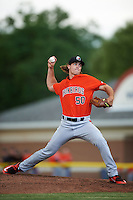 Aberdeen IronBirds starting pitcher Cody Sedlock (50) delivers a pitch during a game against the Batavia Muckdogs on July 15, 2016 at Dwyer Stadium in Batavia, New York.  Aberdeen defeated Batavia 4-2.  (Mike Janes/Four Seam Images)