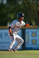 San Jose Giants third baseman Wander Franco (12) takes a lead off second base during a California League game against the Modesto Nuts at John Thurman Field on May 9, 2018 in Modesto, California. San Jose defeated Modesto 9-5. (Zachary Lucy/Four Seam Images)
