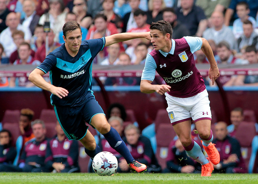 Middlesbrough&rsquo;s Stewart Downing chases down Aston Villa's Ashley Westwood<br /> <br /> Photographer David Shipman / CameraSport<br /> <br /> Football - Pre-Season Friendly - Aston Villa v Middlesbrough - Saturday 30th July 2016 - Villa Park, Birmingham<br /> <br /> &copy; CameraSport - 43 Linden Ave. Countesthorpe. Leicester. England. LE8 5PG - Tel: +44 (0) 116 277 4147 - admin@camerasport.com - www.camerasport.com