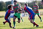 Opeta Lafotasi goes for the gap between Samuela Alatini & Dean Cummins. Counties Manukau Premier Club Rugby game between Waiuku & Ardmore Marist played at Waiuku on Saturday 20th June, 2009. Waiuku won the game 28 - 25.