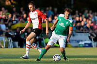 LEER - Voetbal , Werder Bremen - FC Emmen, oefenduel, seizoen 2018--2019, 04-09-2018, FC Emmen speler Alexander Bannink in duel met Max Kruze