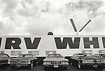1971 Los Angeles, CA.LaBrea Area- Irv White used car lot.