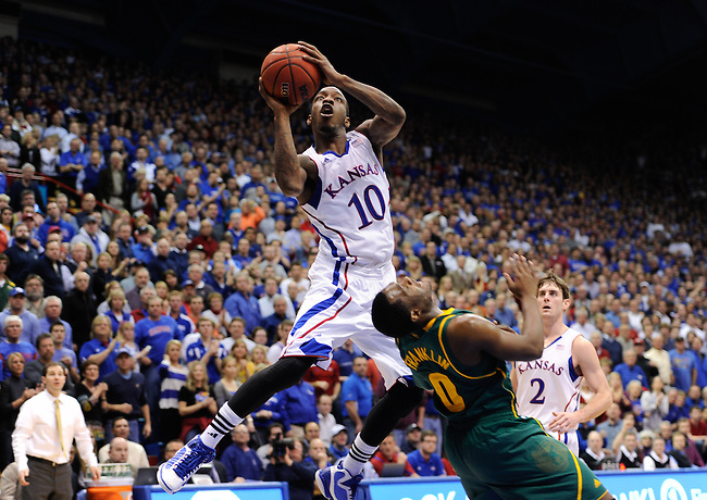 LAWRENCE, KS - JANUARY 16, 2012: Tyshawn Taylor (10) of the Kansas Jayhawks in action during a regular season game versus the Baylor Bears at the Allen Fieldhouse. Jayhawks defeat the Bears 92-74..(Photo by Allen Kee / ESPN)..- RAW FILE AVAILABLE -