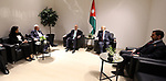 Palestinian Prime Minister Rami Hamdallah meets with his Jordanian counterpart Omar Razzaz on the sidelines of the the fourth Arab Economic and Social Development Summit in Beirut, Lebanon, 20 January 2019. The fourth Arab Economic and Social Development Summit on Sunday kicked off in Lebanon's capital Beirut. Photo by Prime Minister Office