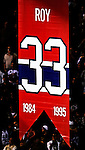 22 November 2008: The Montreal Canadiens, celebrating their 100th season, honor goaltender Patrick Roy as his banner is raised to the rafters. The Canadiens retired his jersey (Number 33) during pre-game ceremonies prior to a game against the Boston Bruins at the Bell Centre in Montreal, Quebec, Canada. Roy, played on two Stanley Cup teams with Montreal (1986 and 1993), and appeared in 114 playoff games for the Habs, the most of any goalie in Canadiens history. ***** Editorial Use Only *****..Mandatory Photo Credit: Ed Wolfstein Photo *** Editorial Sales through Icon Sports Media *** www.iconsportsmedia.com