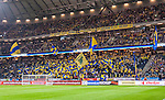 Solna 2014-10-09 Fotboll EM-kval , Sverige - Ryssland :  <br /> Sveriges supportrar i Friends Arena p&aring; ena kortsidans l&auml;ktare <br /> (Photo: Kenta J&ouml;nsson) Keywords:  Sweden Sverige Friends Arena EM Kval EM-kval UEFA Euro European 2016 Qualifier Qualifiers Qualifying Group Grupp G Ryssland Russia supporter fans publik supporters