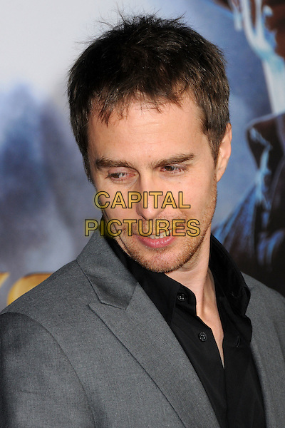 "Sam Rockwell.""Cowboys & Aliens"" World Premiere held at the San Diego Civic Theatre, San Diego, California, USA..July 23rd, 2011.headshot portrait stubble facial hair grey gray black shirt looking down.CAP/ADM/BP.©Byron Purvis/AdMedia/Capital Pictures."