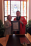 Mary Reynolds receives her civic award from Mayor Sean Collins.Picture: Fran Caffrey Newsfile