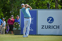 Peter Uihlein (USA) watches his tee shot on 18 during Round 2 of the Zurich Classic of New Orl, TPC Louisiana, Avondale, Louisiana, USA. 4/27/2018.<br /> Picture: Golffile | Ken Murray<br /> <br /> <br /> All photo usage must carry mandatory copyright credit (&copy; Golffile | Ken Murray)