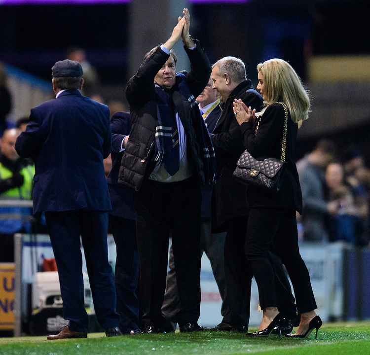 Mansfield Town chairman John Radford, left, and Mansfield Town's chief executive Carolyn Radford<br /> <br /> Photographer Chris Vaughan/CameraSport<br /> <br /> The EFL Sky Bet League Two - Mansfield Town v Lincoln City - Monday 18th March 2019 - Field Mill - Mansfield<br /> <br /> World Copyright © 2019 CameraSport. All rights reserved. 43 Linden Ave. Countesthorpe. Leicester. England. LE8 5PG - Tel: +44 (0) 116 277 4147 - admin@camerasport.com - www.camerasport.com