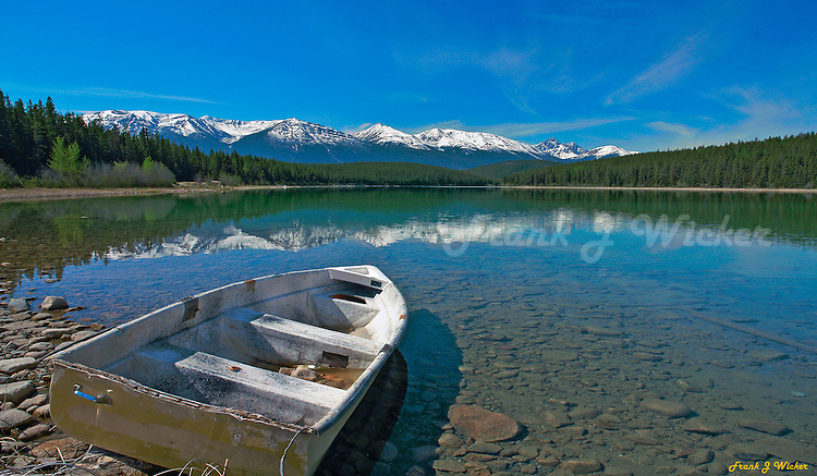 Abandoned rowboat on Pyramid Lake in Jasper National Park in Alberta Canada