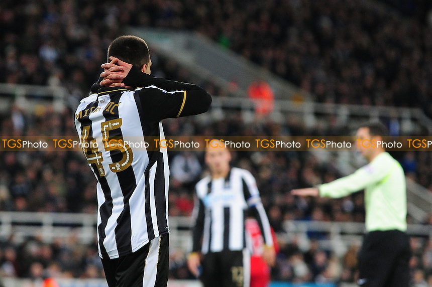 A frustrated Aleksandar Mitrovic of Newcastle United during Newcastle United vs Blackburn Rovers, Sky Bet EFL Championship Football at St. James' Park on 26th November 2016