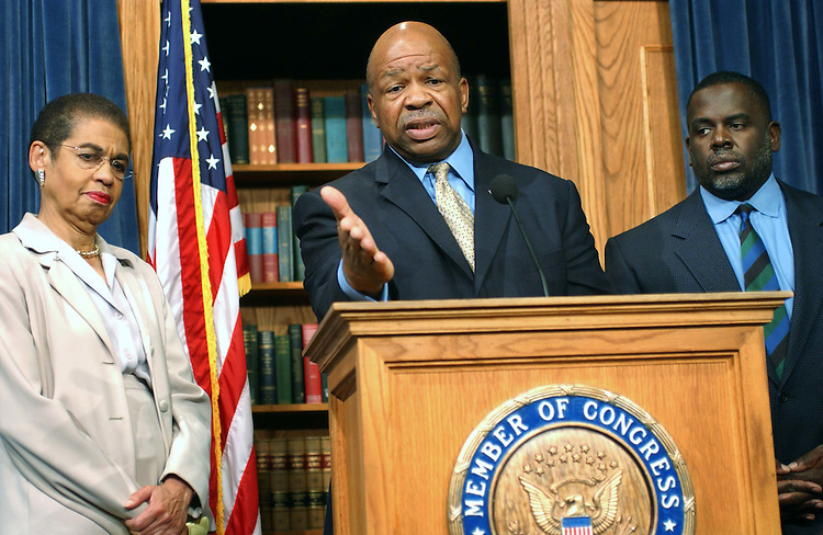 11/3/04.VOTE REACTION: CONGRESSIONAL BLACK CAUCUS--Del. Eleanor Holmes Norton, D-D.C., Elijah Cummings, D-Md., chairman of the Congressional Black Caucus, and Albert R. Wynn, D-Md., during a news conference on yesterday's election. .CONGRESSIONAL QUARTERLY PHOTO BY SCOTT J. FERRELL